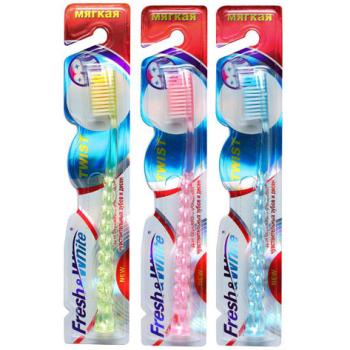 Зубная щетка мягкая Meggi Fresh&White Twist