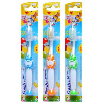 Детская зубная щетка с присоской и чехлом пингвинчик Meggi Fresh&White Kids Lili
