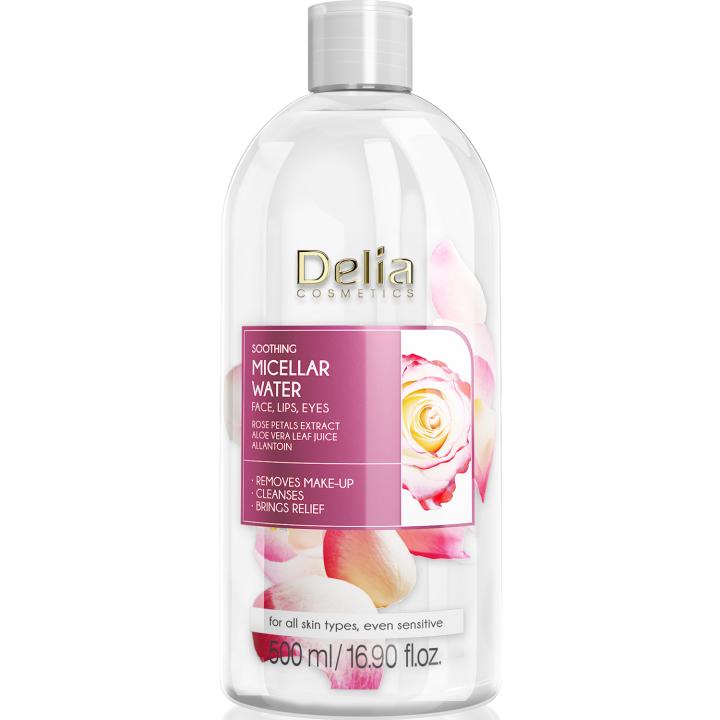 Успокаивающая мицеллярная вода с экстрактом лепестков розы Delia Cosmetics Rose Petals Extract Micellar Water 500 мл