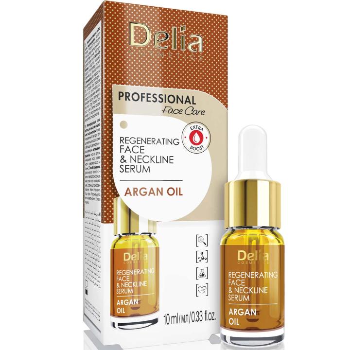Интенсивная омолаживающая сыворотка против морщин для лица и шеи с аргановым маслом Delia Face Care Argan Oil Face Neckline Intensive Serum 10 мл